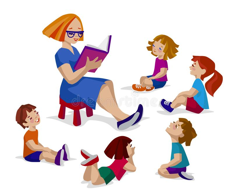 Kids sitting and listening a story vector illustration