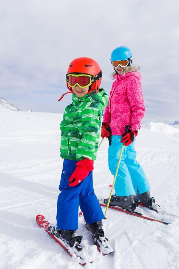 Kids at ski resort stock photo