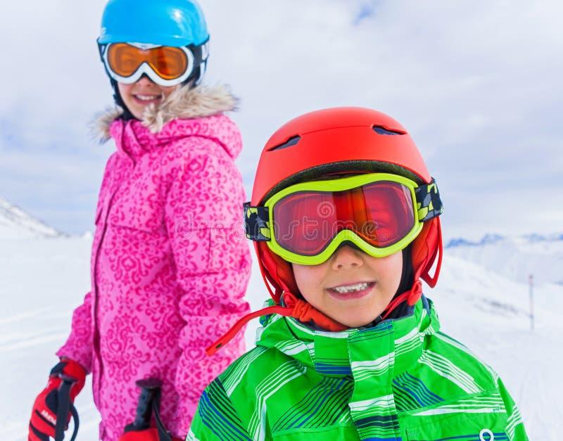 Kids at ski resort royalty free stock photography