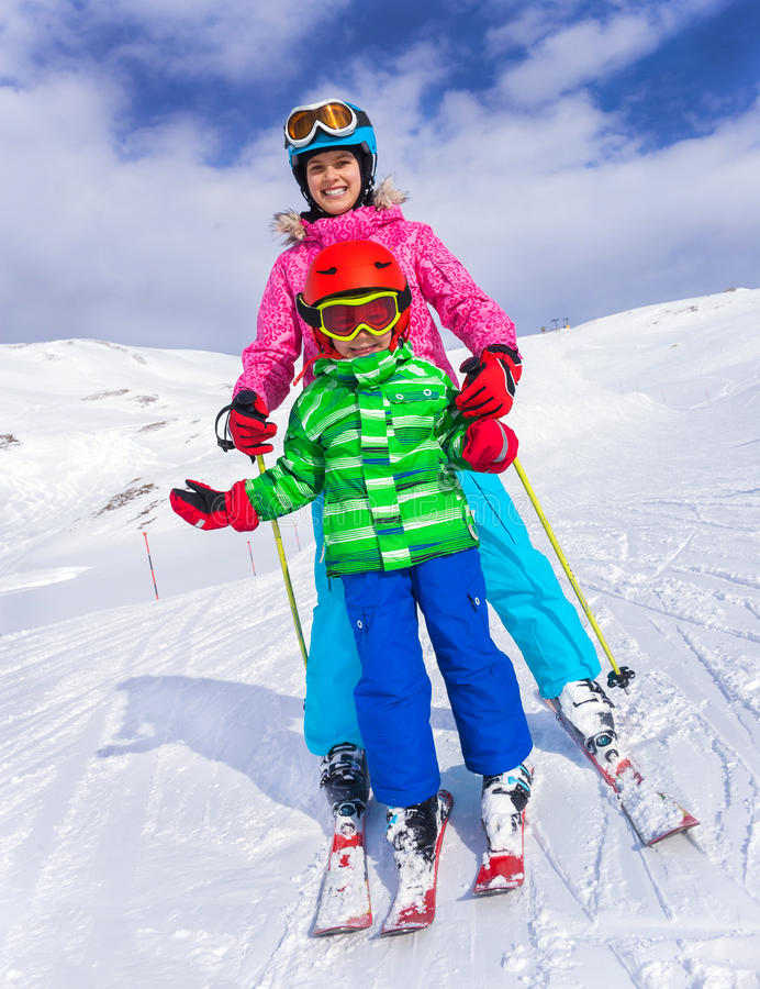 Kids at ski resort stock image