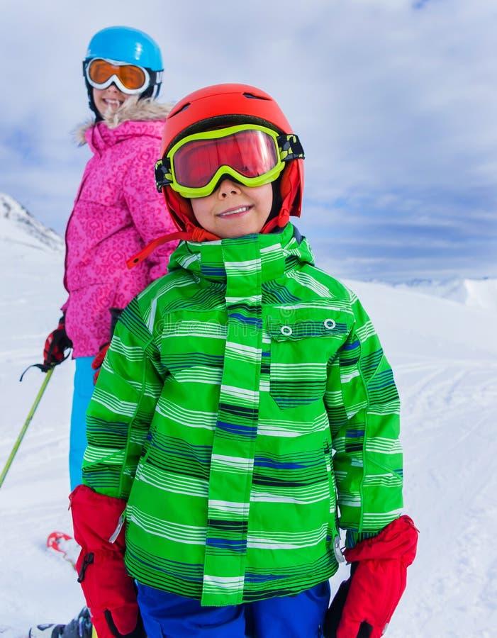 Kids at ski resort royalty free stock images