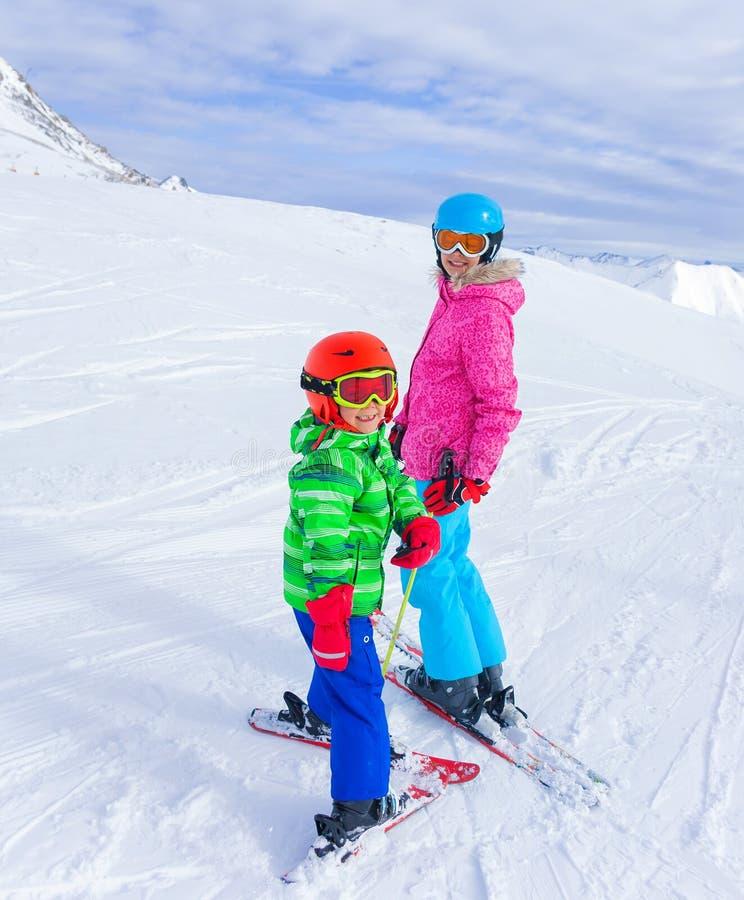 Kids at ski resort stock photos