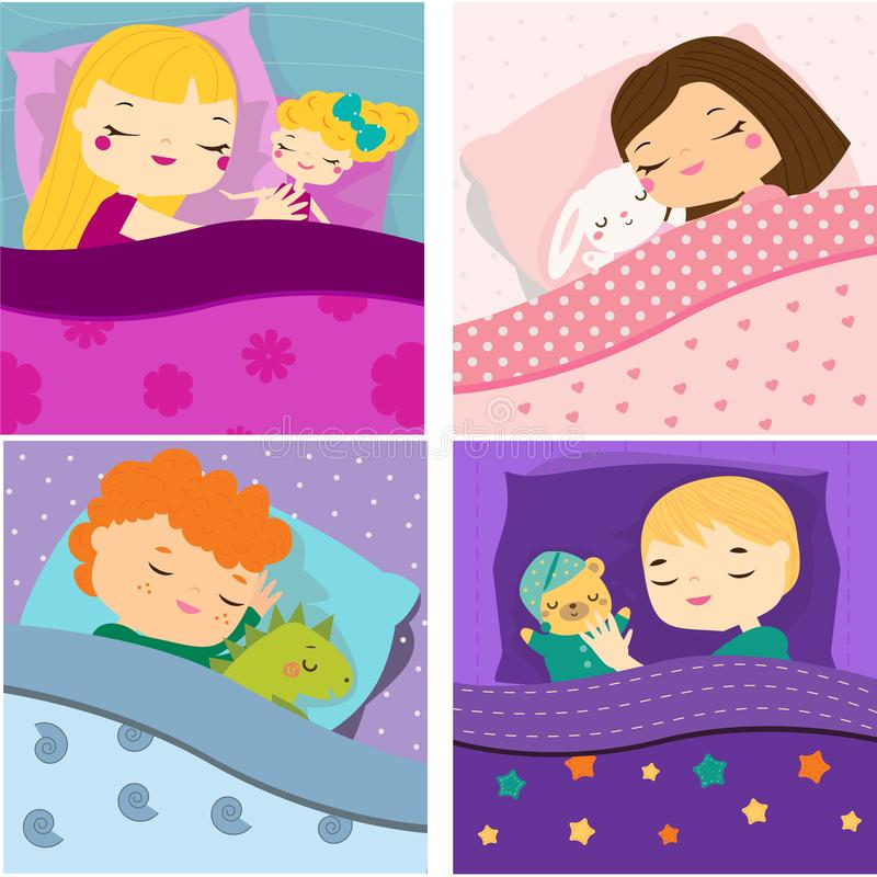 Kids sleeping with toys. Cartoon children in bed having sweet dreams. Boys and girls Baby bedtime royalty free illustration