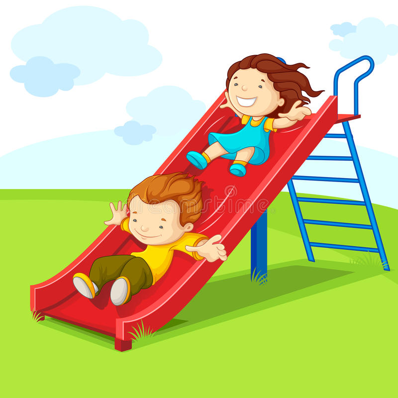 Kids on Slide stock illustration