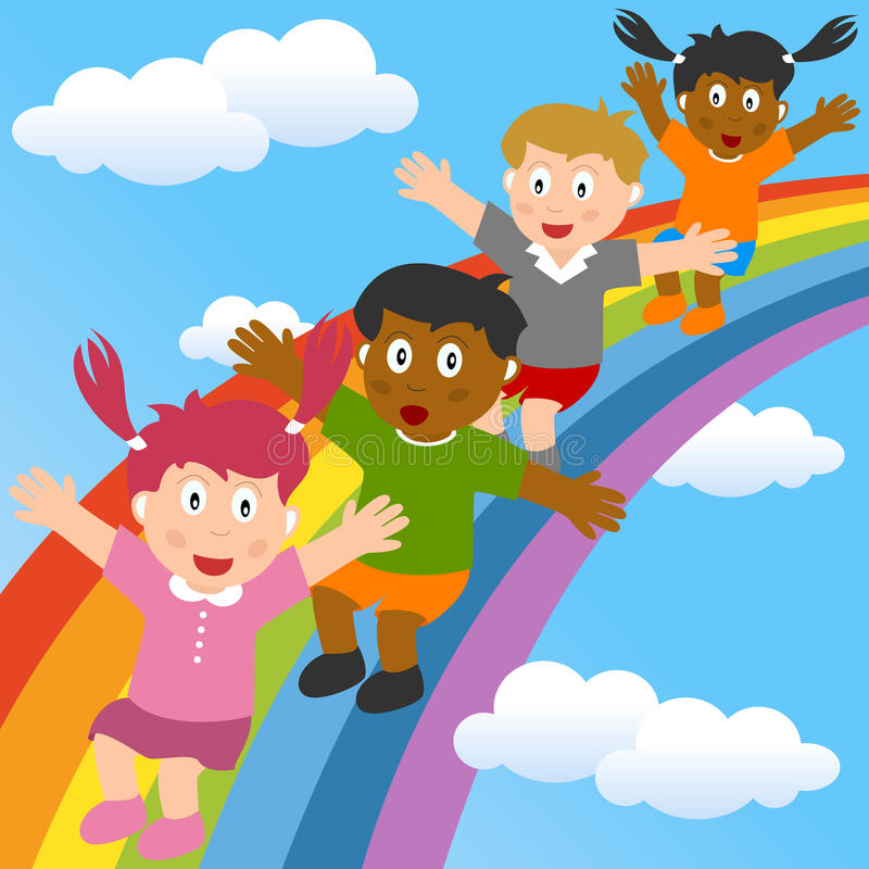 Kids Sliding on the Rainbow. A group of multicultural kids sliding on the rainbow. Eps file available