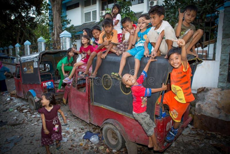 Kids in a slum In jakarta stock photo