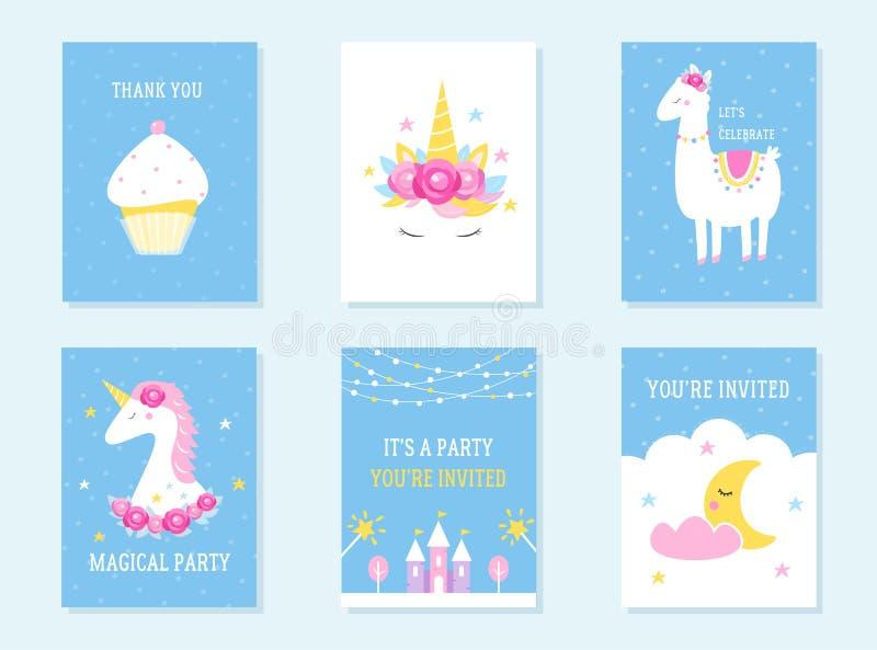 Kids Slumber and Birthday Party Invites. Unicorn, Llama and Cupcake Themes. Vector Design vector illustration