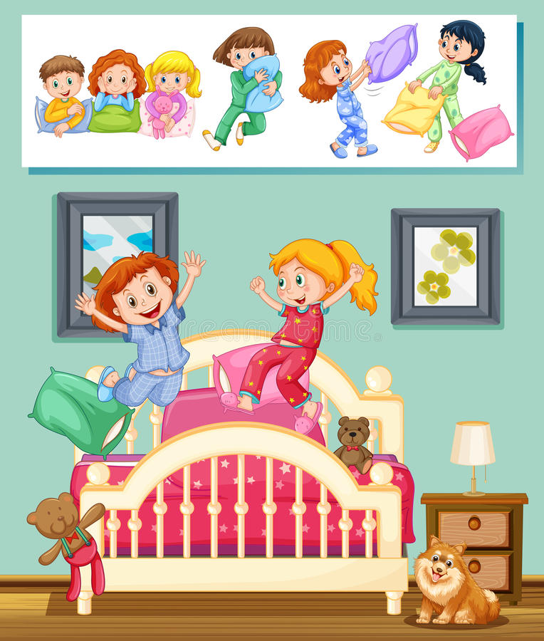 Kids at slumber party in bedroom stock illustration