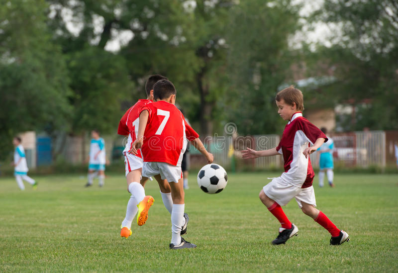 Kids' soccer stock photo