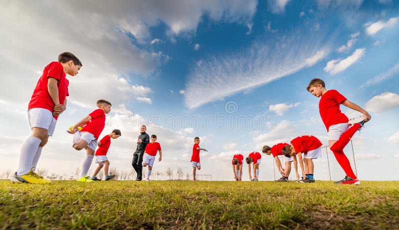 Kids soccer team royalty free stock photos