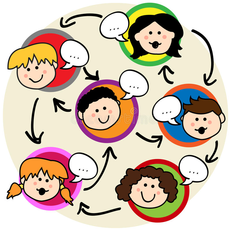 Kids social network. Social network concept: fun cartoon of kids talking and being interconnected vector illustration