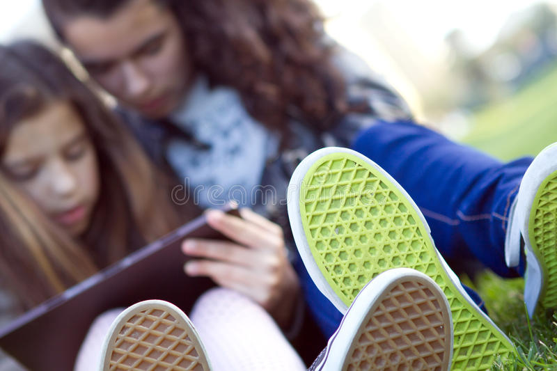 Kids on Social Networks royalty free stock photography