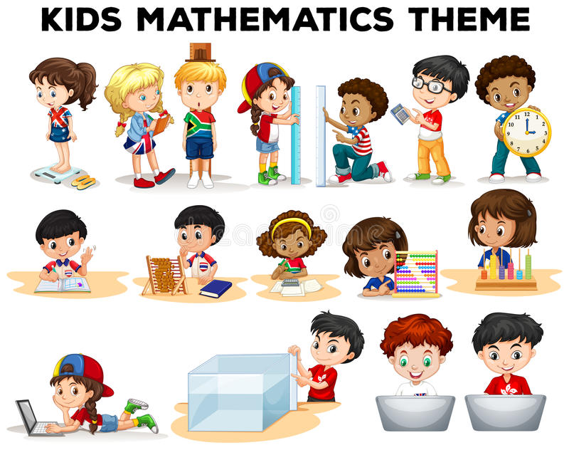 Kids solving math problems stock vector. Illustration of clip - 70441634