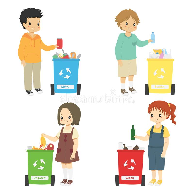 Kids Sorting Trash for Recycling stock image