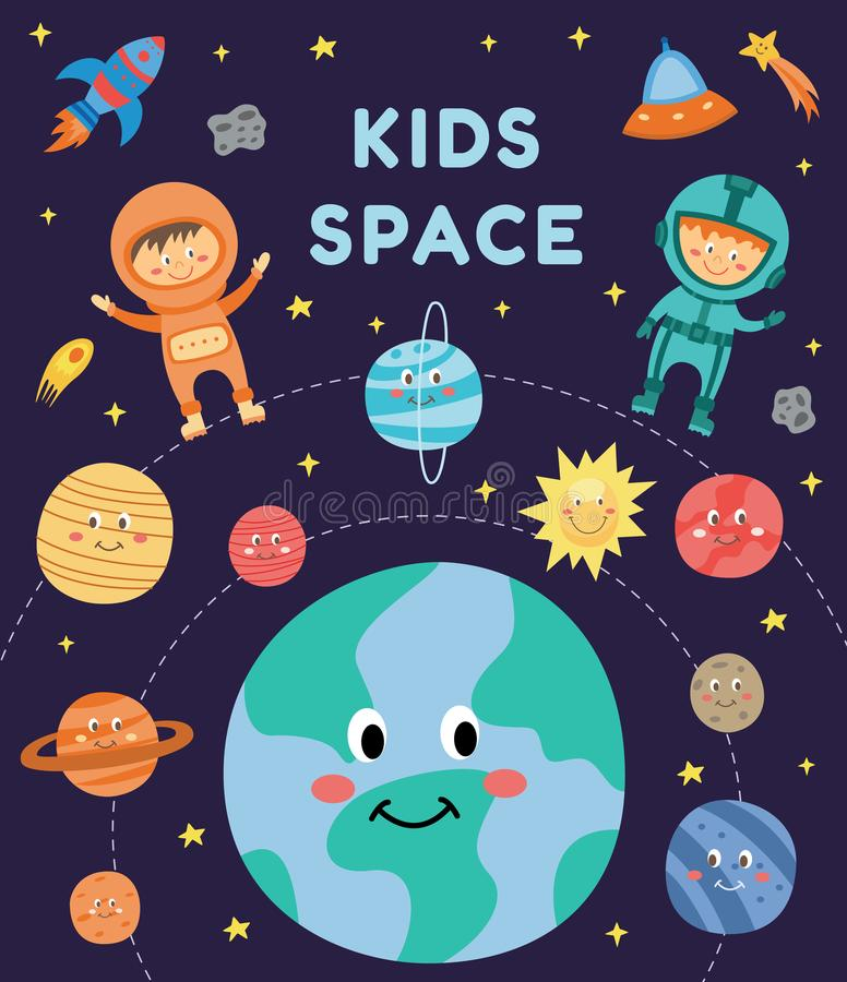 Kids in space - cute cartoon astronaut children in suits fluing among smiling planets and rocket. Kids in space - cute cartoon astronaut children in suits flying stock illustration