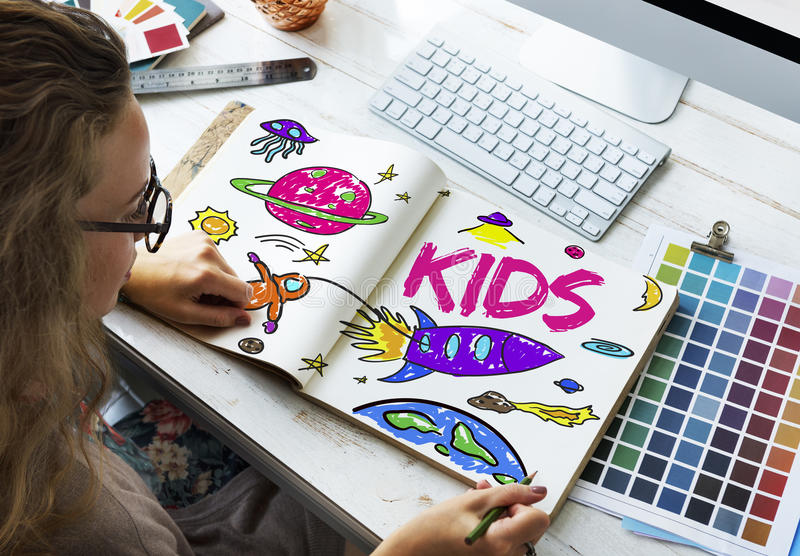Kids Space Rocket Planet Graphic Concept royalty free stock photo