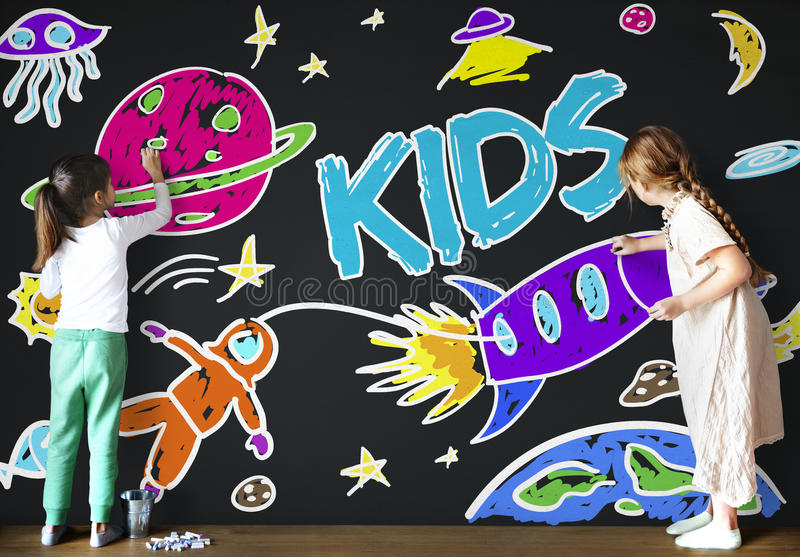Kids Space Rocket Planet Graphic Concept Stock Image