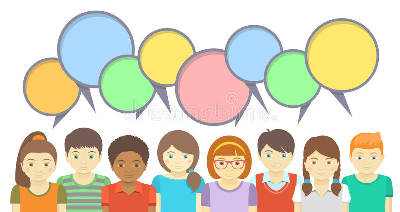 Kids with speech bubbles royalty free illustration