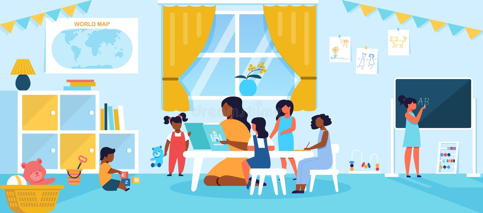 Kids Spending Time in Kindergarten or Preschool. Having Lesson with Young Teacher or Nanny Reading Book to Children, Sitting at Table in Bright Room, Education royalty free illustration