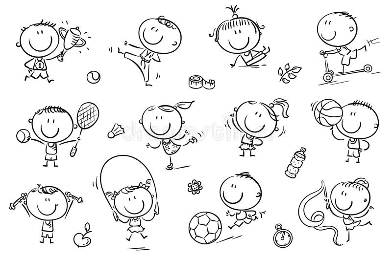 Kids and Sport. Active kids with sport things representing healthy lifestyle. Easy to print and edit. Vector files can be scaled to any size royalty free illustration