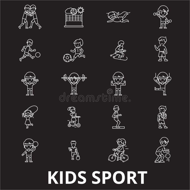 Kids sport editable line icons vector set on black background. Kids sport white outline illustrations, signs, symbols stock illustration
