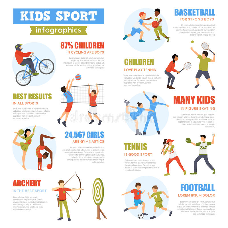 Kids Sport Infographics Set vector illustration