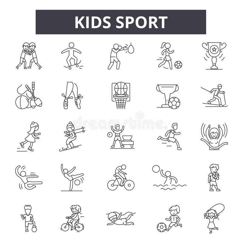 Kids sport line icons, signs, vector set, outline illustration concept vector illustration