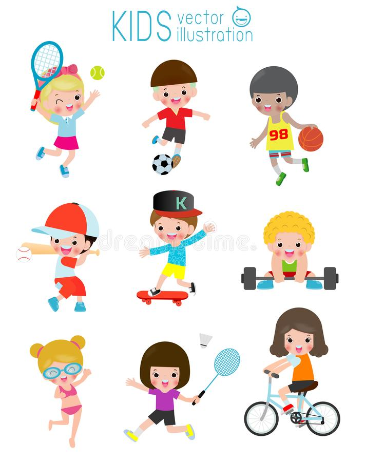 Kids and sport, Kids playing various sports, Cartoon children sports football, Swimming, Baseball,tennis, Weight-lifting,badminton. Basketball, bicycle, skate stock illustration