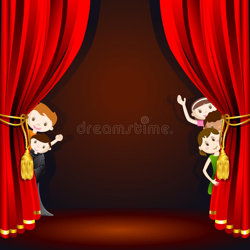 Kids on Stage. Illustration of kids in costume peeping from stage curtain