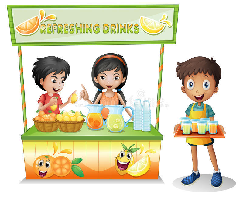 Kids at the stall selling refreshing drinks vector illustration