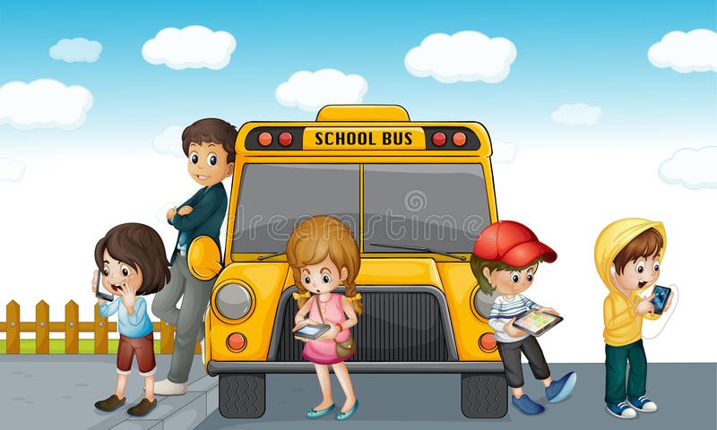 Download Kids Standing Outside School Bus Stock Illustration - Image: 25385752