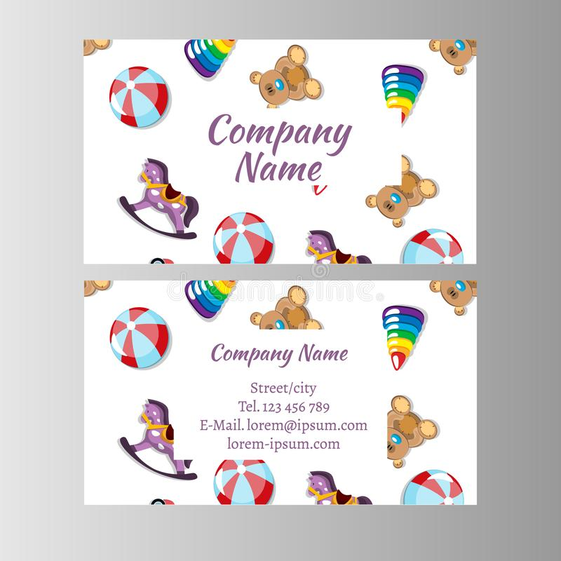 Kids store, baby shop business card template. vector illustration