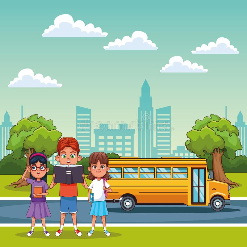 Kids students in school. Kids students in outdoors with school bus cartoons vector illustration graphic design stock illustration
