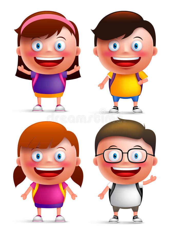 Kids students vector characters set with happy faces wearing backpacks stock illustration