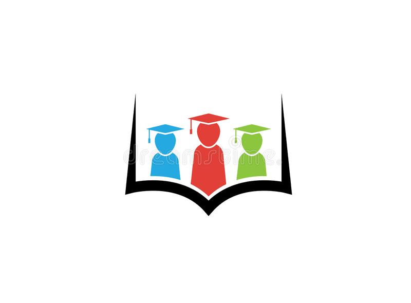 Kids or students wearing graduation hat inside a book for logo design royalty free illustration