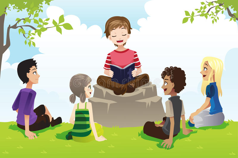 Kids studying bible. A vector illustration of a group of kids studying bible royalty free illustration