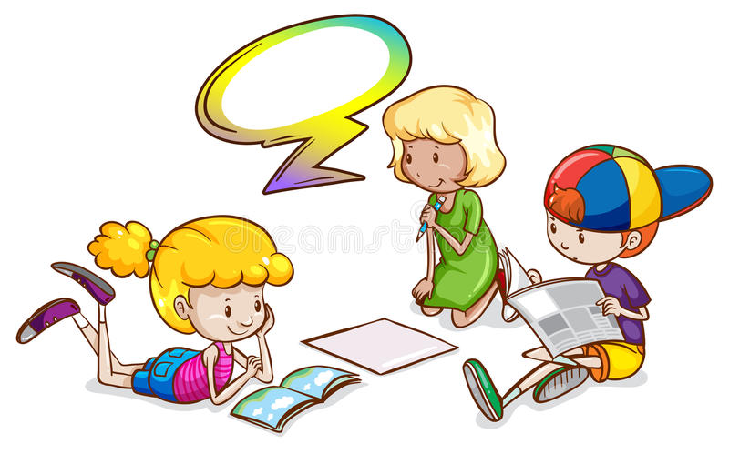 Kids studying with an empty callout template. Illustration of the kids studying with an empty callout template on a white background royalty free illustration