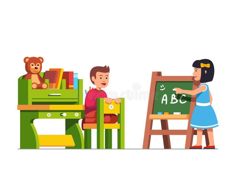 Kids studying at kindergarten classroom vector illustration