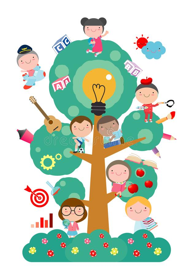 Kids studying on tree with different education object,School tree of knowledge and children education, Flat style vector stock illustration