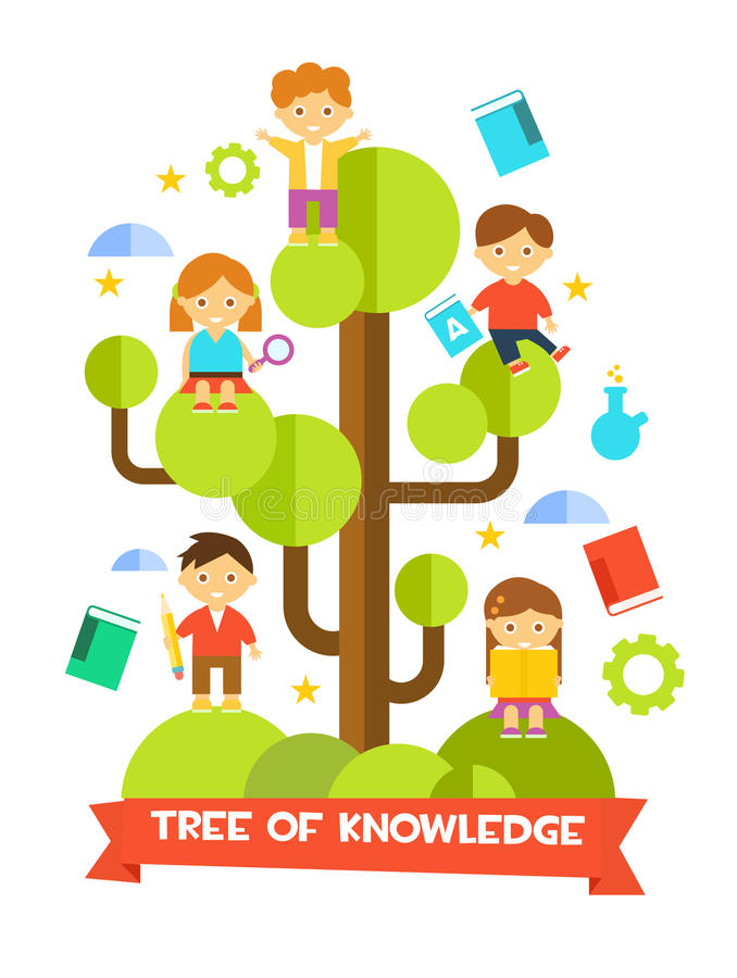 Kids Studying on Tree. Vector Illustration vector illustration
