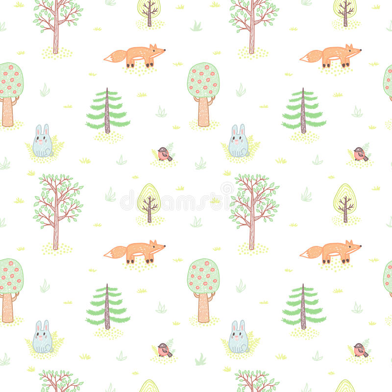 Kids style drawing doodle trees vector seamless pattern stock illustration