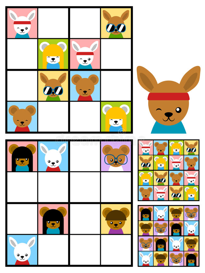 Kids sudoku puzzle with cartoon animal heads vector illustration