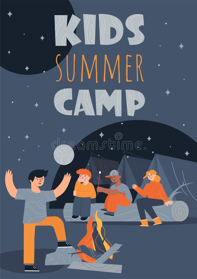 Kids summer camp colorful poster template with the children, sitting near a bonfire. And their tents and telling scary stories vector illustration