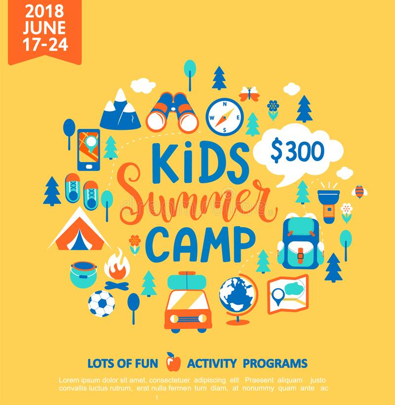 Kids Summer camp with a lot of camping equipment. vector illustration