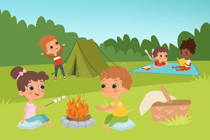 Kids summer camp vector background with children characters and camping elements vector illustration