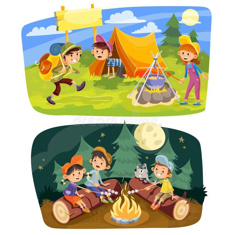 Kids summer camping vector concept illustration stock illustration