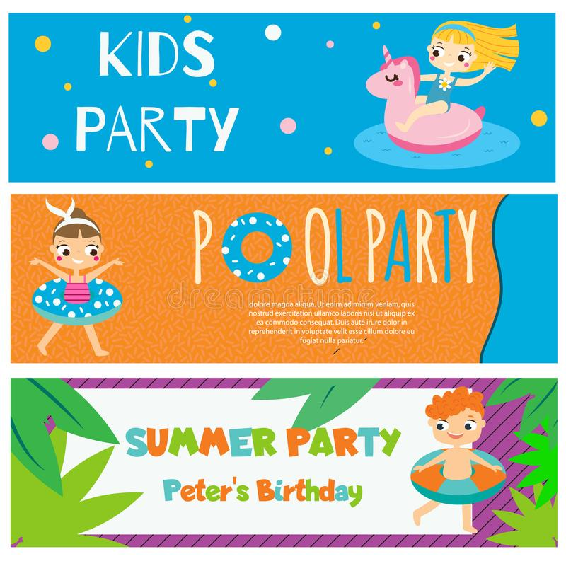 Kids summer party banners. Invitations, advertisements with happy children having outdoor beach activity stock illustration