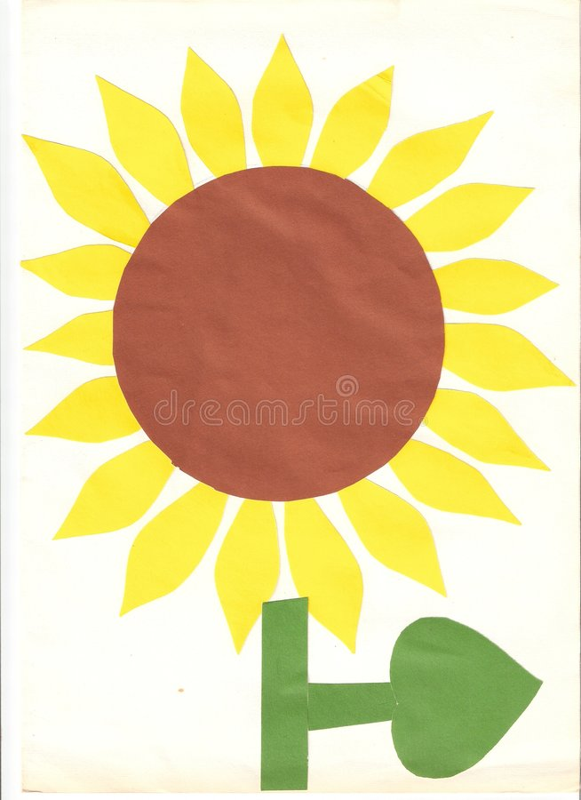 Kids Sunflower made of paper stock photos
