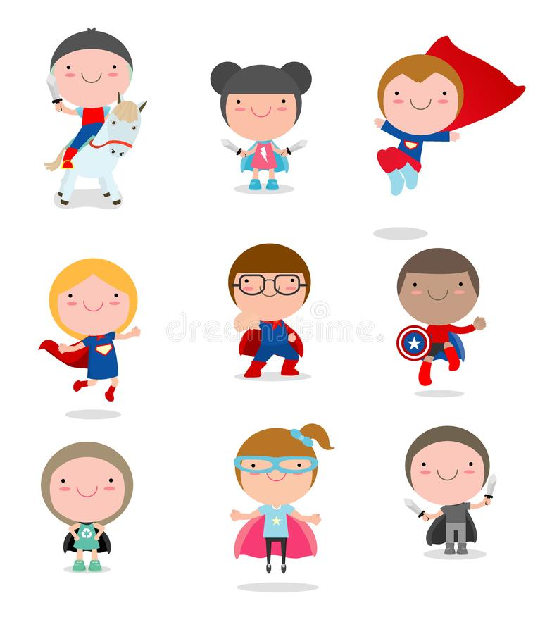 Kids With Superhero Costumes set, kids in Superhero costume characters isolated on white background, Cute little Superhero. Children`s collection, Superhero stock illustration