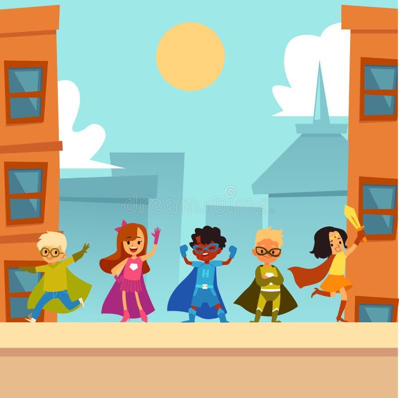 Kids superheroes team standing outdoors in brave heroic poses cartoon style royalty free illustration